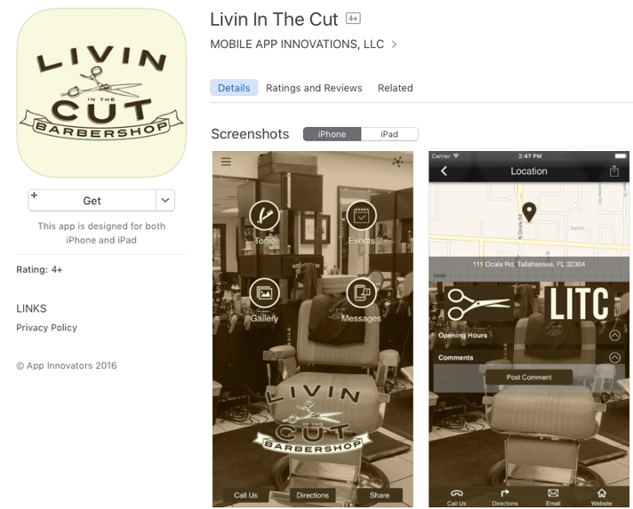Florida-based barbershop Livin In the Cut created a mobile app for booking appointments