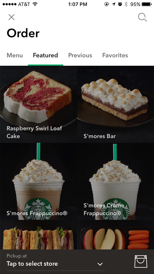 Starbucks' mobile app is intuitive, making it easy for users to integrate into their experience with Starbucks