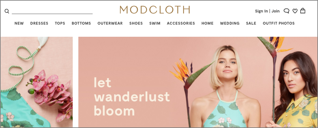 Modcloth ad landing page