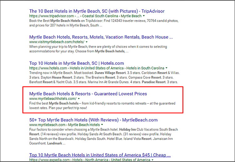Myrtle Beach hotels Google search
