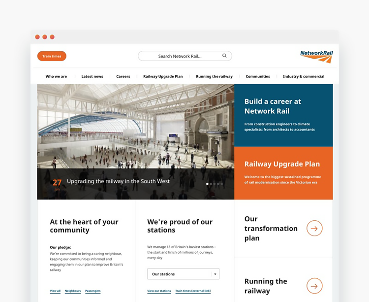 Network Rail website redesign using hybrid development approach