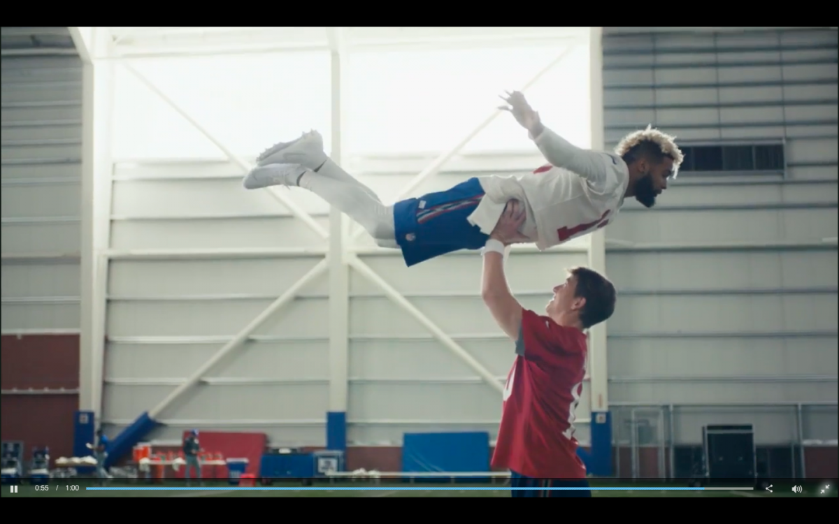 Super Bowl LII NFL advertisement with Eli Manning and Odell Beckham Jr.