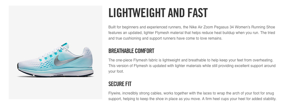 Nike page design places text immediately adjacent to images to prevent confusion.