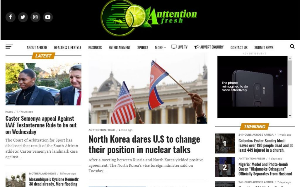 News Site for a Pan-African Media Company