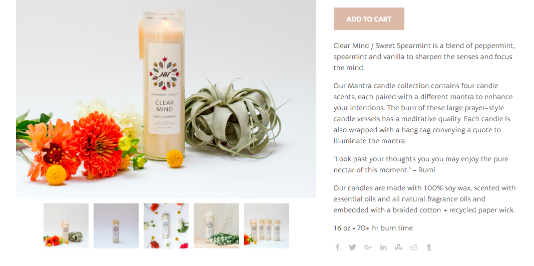 Product description example from Handmade Habitat, showing a soy candle and describing the scent.