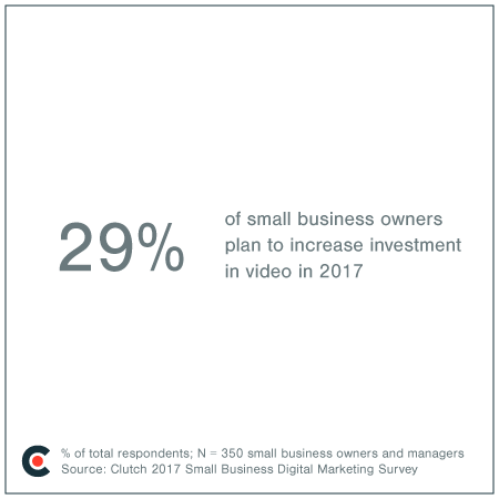 29% of small business owners plan to increase investment in video.