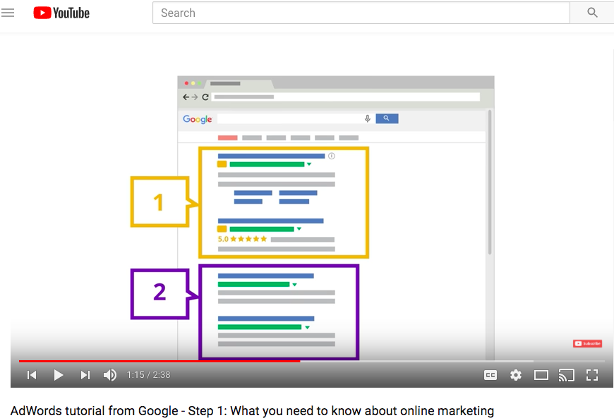AdWords help center youtube tutorial