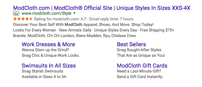 modcloth google search engine results page