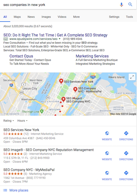 SEO companies in New York Local 3 Pack