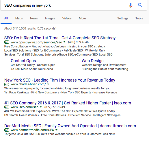 SEO companies in new york paid search ads
