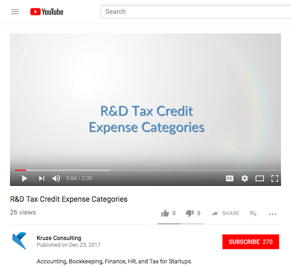 Kruze Accounting R&D Tax Credit Video Content Marketing