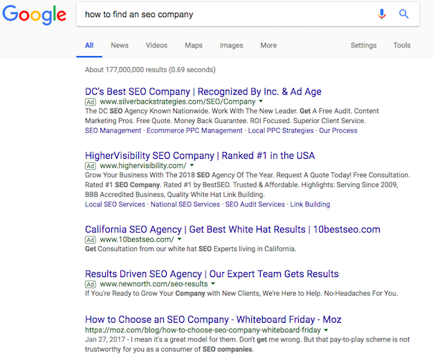 How to Find an SEO company SERP Results