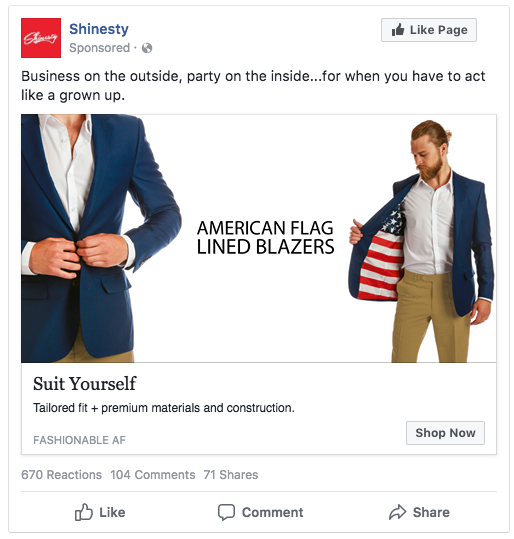 Shinesty Facebook advertisement