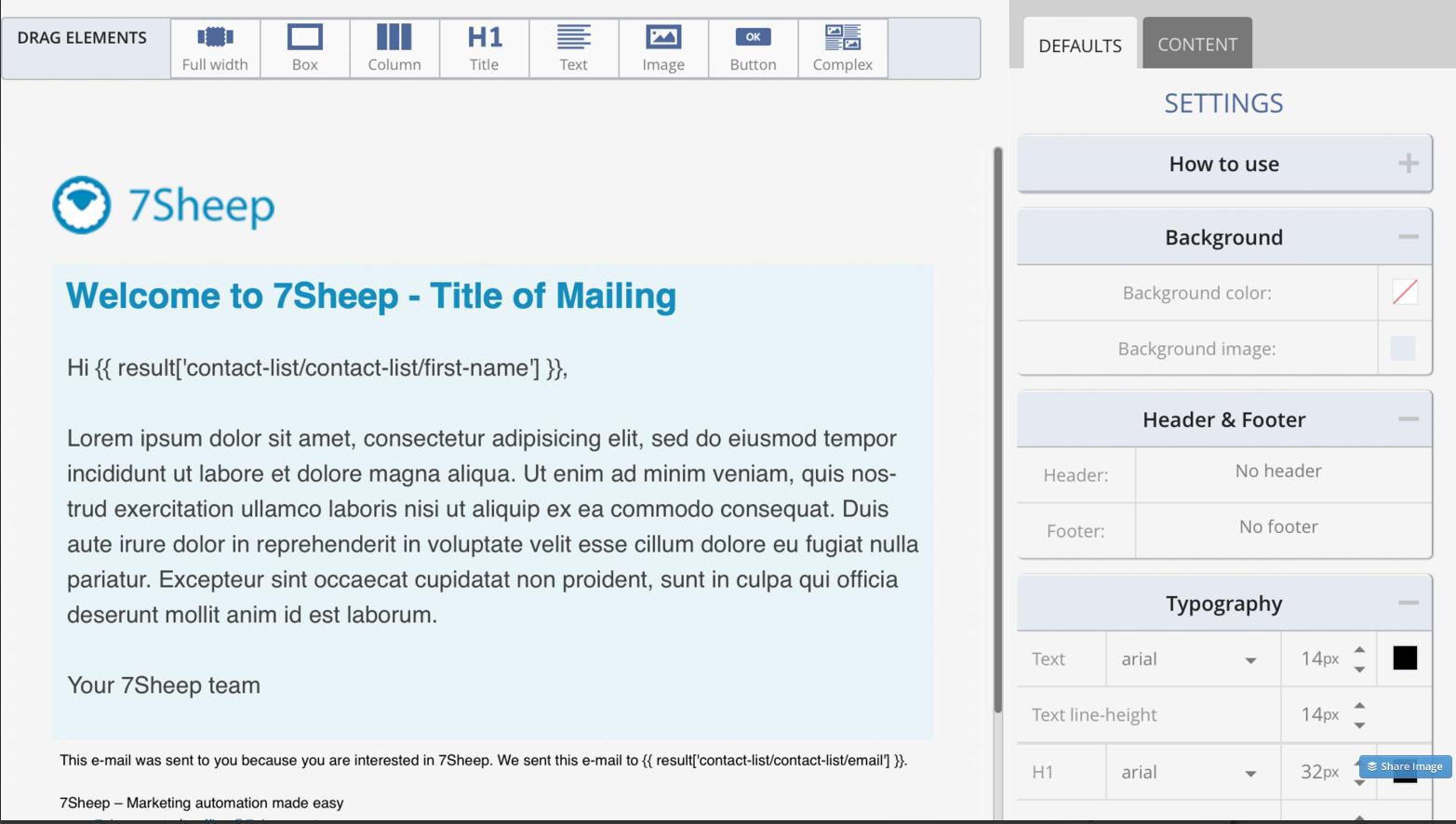 7Sheep Email Creation Screenshot