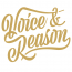 The Voice and Reason logo is an embellished script font with the two words stacked on top of one another and tendrils of letters interwinding. It reminds some people of the logo for a bluegrass band.