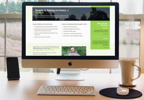 New responsive website design for carp fishing holidays in France provider Bounty Lakes