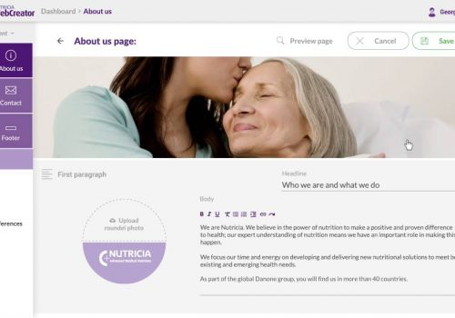HighSolutions CMS © - Example of workflow for Nutricia WebCreator