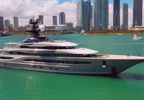 Super Yacht Kismet Docking at Island Gardens Marina in Miami