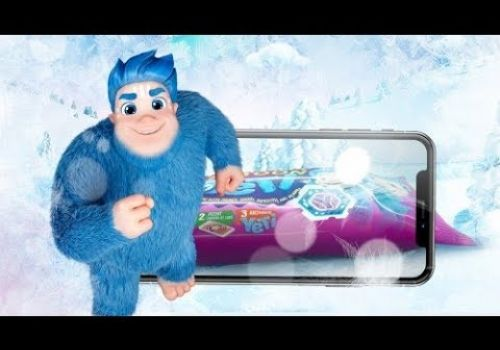 How does the Ice cream with My Yeti cartoon work in augmented reality