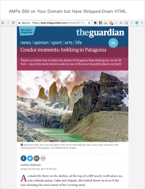 Example of an AMP page from The Guardian