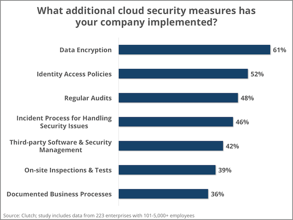 Types of additional security measures implemented for cloud - Clutch's Enterprise Cloud Computing Survey 2016