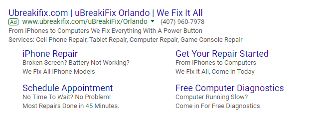 uBreakiFix Google advertisement