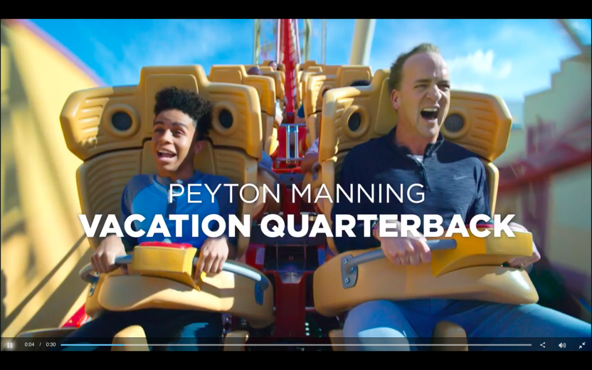 Universal Studios Super Bowl LII advertisement with Peyton Manning