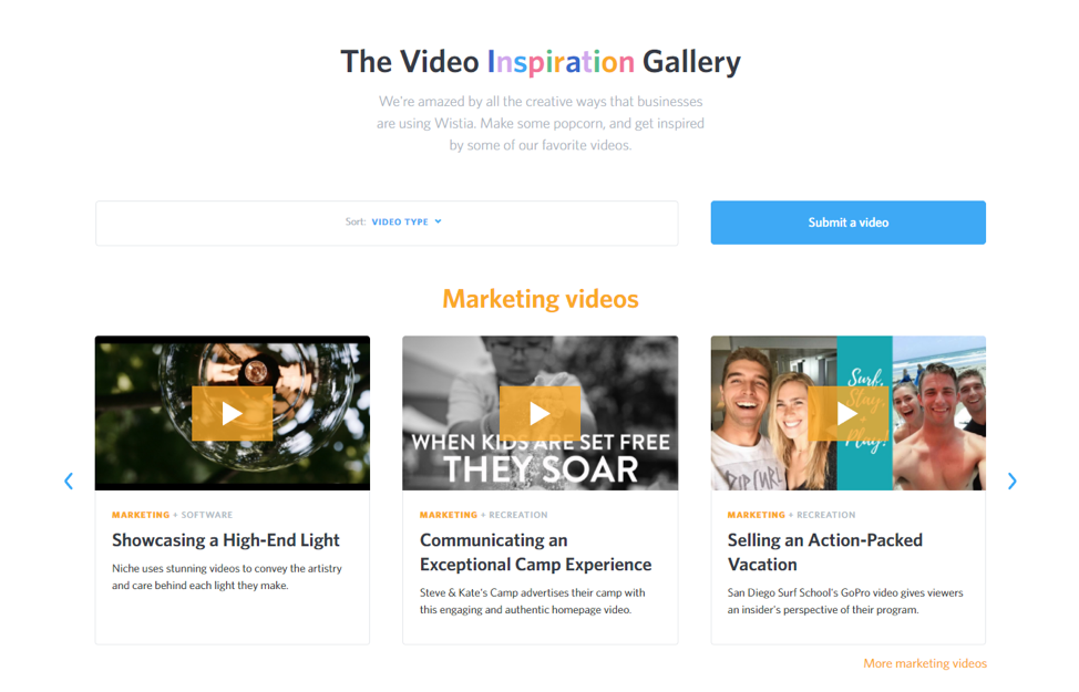Video inspiration gallery Wistia
