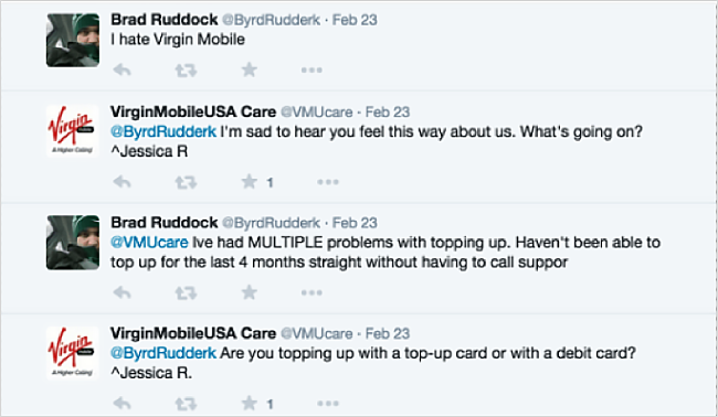 Twitter conversation between Virgin Mobile and a disgruntled customer
