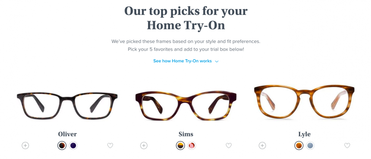 Warby Parker allows customers to try frames at home.