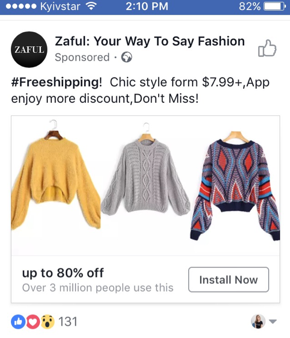 Zaful Facebook post